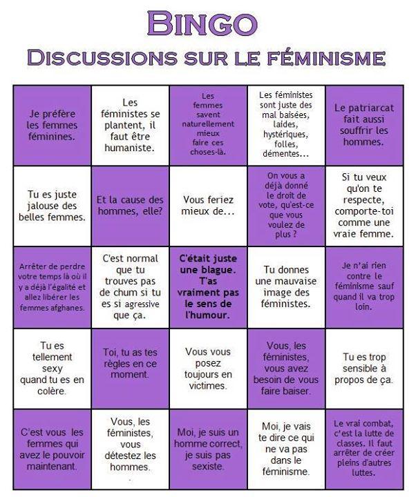 * Bingo des argumentocs contre les féminismes